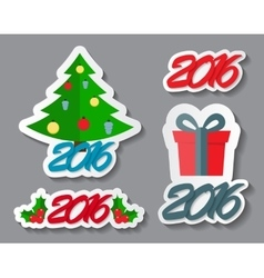 Abstract Christmas and New Year Sticker Set vector