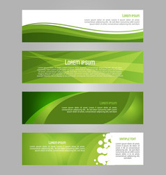 abstract set of 4 simply banner in green color vector image