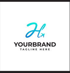 Airline business travel logo design with letter h vector