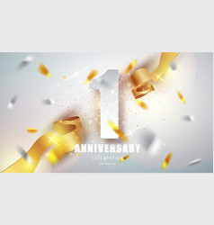 anniversary premium emblem with golden confetti vector image