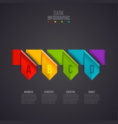 Arrows infographic on a dark background vector
