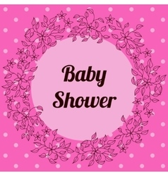 Baby shower with round floral banner pink vector image