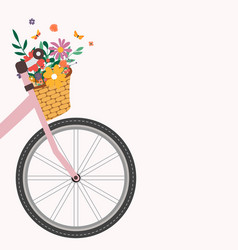Bicycle with a bouquet spring flowers eps10 vector