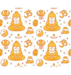 Buddhist religious sacred symbols seamles vector