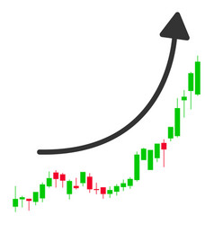 Candlestick chart growth trend flat icon vector