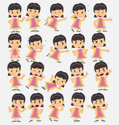 Cartoon character asian girl set with different vector