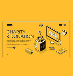 Charity donation isometric line halftone vector