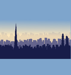 collection of dubai beauty scenery silhouettes vector image