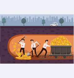 cryptocurrency concept with businessmans miners vector image