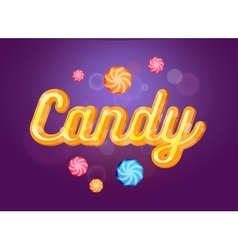 Cute candy font and sweets on the violet vector image