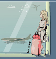 Cute cartoon girl in airport vector