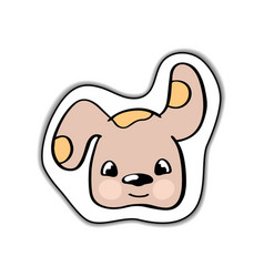 cute dog animal face sticker vector image