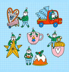 cute little elfs santa helpers set vector image