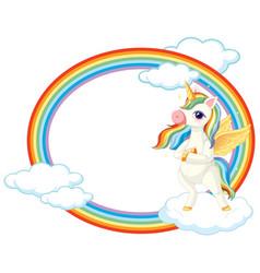 cute unicorn on sky banner vector image