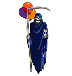 Death with hourglass scythe and colorful balloons vector