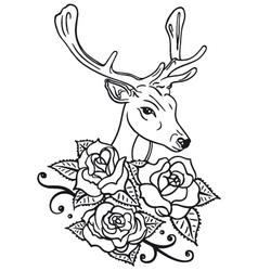 Deer roses vector