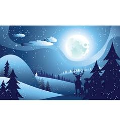 Deers in Winter Forest vector