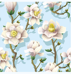 Delicate seamless pattern with magnolia flowers vector