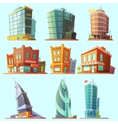 Distinctive modern and old buildings icons set vector image
