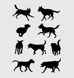 Dog Running Silhouettes vector image
