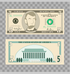 Dollar banknotes us currency money bills - 5 vector