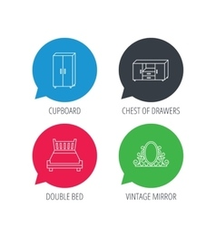 Double bed vintage mirror and cupboard icons vector