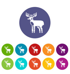 elk icons set color vector image