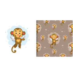 Fairy monkey with little wings giving vector