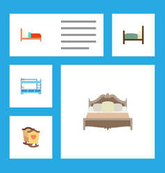 Flat bed set of bunk bed bearings bedroom and vector