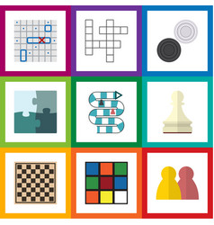 flat icon play set of cube sea fight jigsaw and vector image