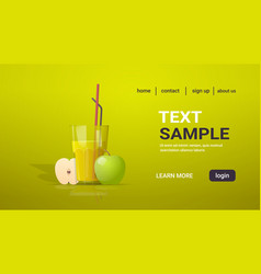 Glass fresh apple juice with straw and cut vector