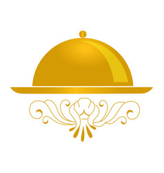 golden color background with cloche icon vector image