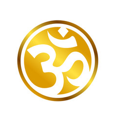 Golden om circular symbol design vector