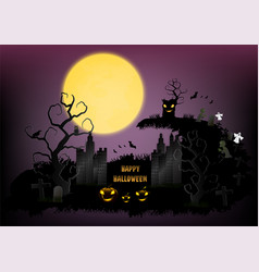 Halloween town background with pumpkin and full vector