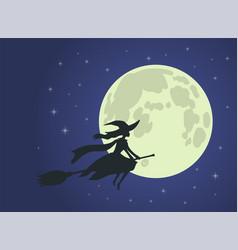 halloween witch flies on broomstick full moon vector image