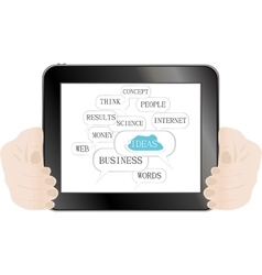 Hand and social media button on tablet pc isolated vector image