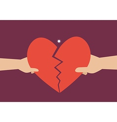 Hand of a man and woman tearing apart heart symbol vector