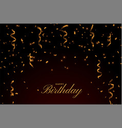 Happy birthday premium card with golden falling vector