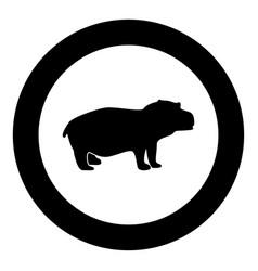 Hippopotamus black icon in circle vector