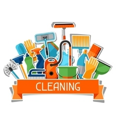 Housekeeping background with cleaning sticker vector