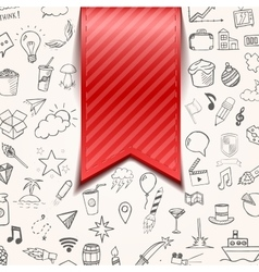 Isolated red bookmarkon background with doodle vector