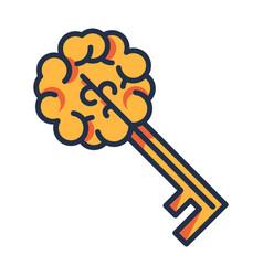 Key brain sign isolated creative thinking icon vector