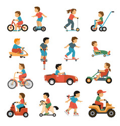 kids transport icons set vector image