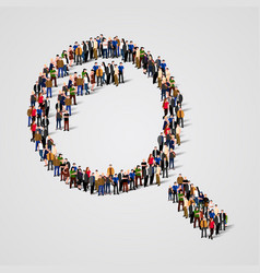 Large group of people in the magnifying glass vector