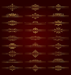 Large set of golden ornate headpieces vector