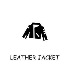 Leather jacket flat icon vector