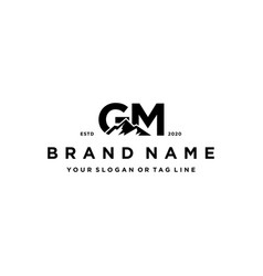 Letter gm mountain logo design vector