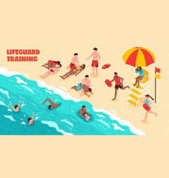 Lifeguard training horizontal vector