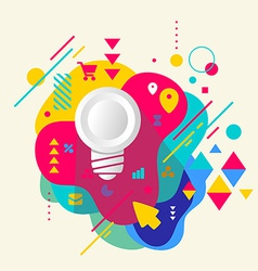 Light bulb on abstract colorful spotted background vector