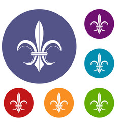 Lily heraldic emblem icons set vector